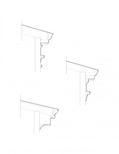 Line art of Frederick Kinsman House cornice moulding profiles.