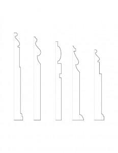 Mix of line art of Frederick Kinsman House moulding profiles.
