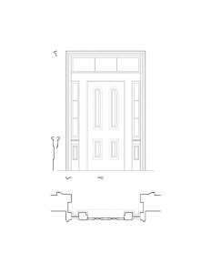 Line art of Frederick Kinsman House interior door featuring panel molds, window casing, and interior cornice mouldings.