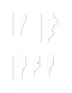 Line art of Frederick Kinsman House multiple moulding profiles.
