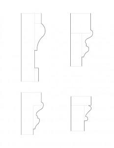 Line art of Frederick Kinsman House moulding profiles.