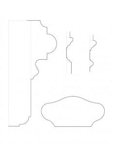 Line art of Frederick Kinsman House newel post cap moulding profiles.