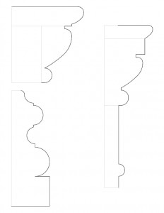 Line art of Frederick Kinsman House common door moulding profiles.