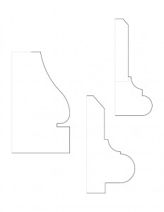 Mix of Frederick Kinsman House moulding profile line art.