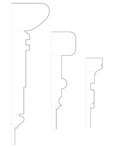 Mix of multiple Frederick Kinsman House moulding profile line arts.