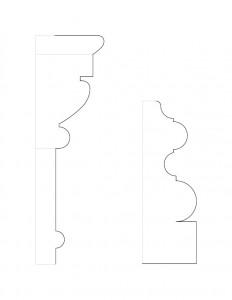 Mix of a couple Frederick Kinsman House moulding profile line arts.