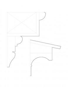 Mix of multiple Frederick Kinsman House cornice moulding profile line arts.