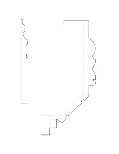 Multitude of Frederick Kinsman House moulding profile line arts.