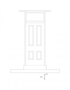Line art of Frederick Kinsman House interior door featuring panel molds, window casing, and multiple interior cornice mouldings.
