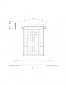 Line art of Frederick Kinsman House doorway featuring column detail, panel molds, window casing, steps, and exterior cornice mouldings.