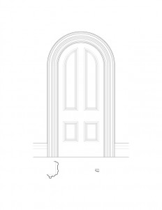 Line art of Frederick Kinsman House interior oval doorway featuring panel molds.