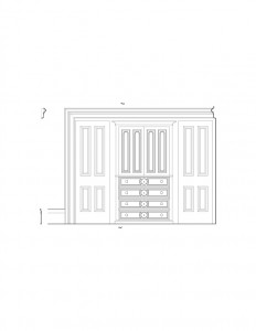 Line art of Frederick Kinsman House interior doors and cabinetry featuring panel molds, and interior cornice mouldings.