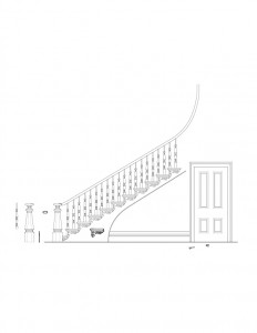 Line art of Frederick Kinsman House staircase and door featuring balusters, stair treads, newel post with cap featuring beautiful design patterns.