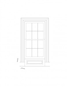 Line art of Frederick Kinsman House window featuring window casing, and panel molds.