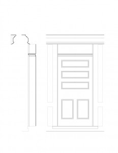 Line art of Freer house featuring door mouldings with panel molds, and separate column with cornice mouldings.