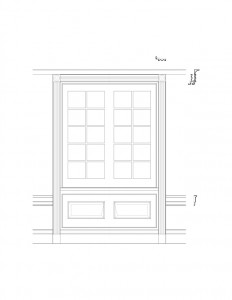 Line art of Freer house window featuring window casing, panel molds, and interior cornice mouldings.