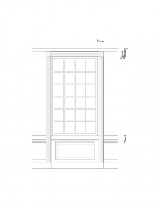 Line art of Freer house window featuring window casing, panel molds, and several interior cornice mouldings.