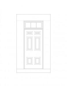 Line art of Hardwick House doorway featuring window casing,and door panel molds.
