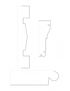 Several line art sketches of Hardwick House moulding profiles.