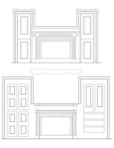 Line art of Hardwick House fireplace mantel mouldings, and wall panel molds featuring column details.