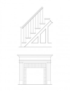 Line art of Hardwick House fireplace mantel mouldings accompanied with staircase mouldings featuring panel molds, balusters, and newel posts.