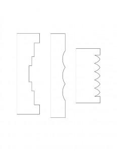 Line art of Hardwick House doorway moulding profiles.