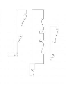 Line art of Hardwick House moulding profiles.