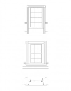Line art of Herrick House window featuring window casing.