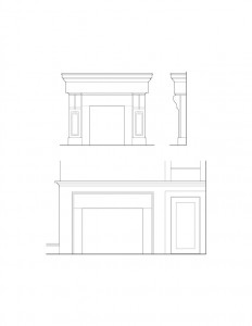 Line art of Herrick House fireplace featuring fireplace mantel mouldings, panel molds, and decorative design patterns.