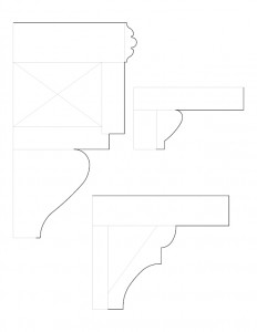 Line art of Herrick House cornice moulding profiles.