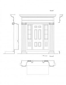 Line art of Hopkins House doorway featuring window casing, panel molds, column detail, cornice mouldings, and beautiful design patterns.