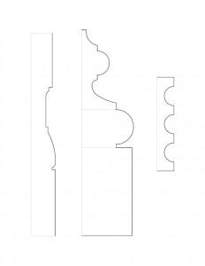Line art of Hopkins House moulding profiles.