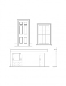 Line art of Hopwood House window, door, and fireplace mantel featuring window casing, door casing with panel molds, and mantel mouldings.