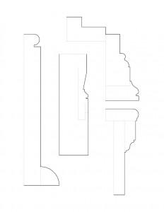 Mix of Hopwood House line art moulding profiles.