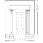 Line art of 75 SOUTH FITZHUGH STREET house door moulding featuring column mouldings, and panel mouldings.