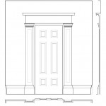 Line art of 75 SOUTH FITZHUGH STREET house door entrance featuring column mouldings, cornice moulding, and panel mouldings.
