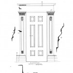 Elevation of 75 SOUTH FITZHUGH STREET house interior door from front parlor to hall featuring column mouldings, panel mouldings, and casing.