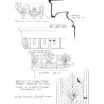 Profile line art of 75 SOUTH FITZHUGH STREET house ornaments and details from the front parlor to hall.