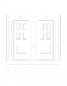 Line art of March House interior doorway featuring panel molds, and window casing.