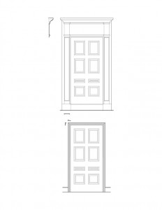 Line art of Iddings House doorway with panel molds, and cornice mouldings.