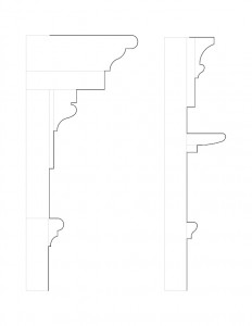 A couple line art sketches of Iddings House moulding profiles.