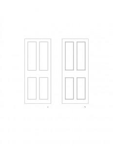 Line art of Iddings House interior door featuring panel molds.