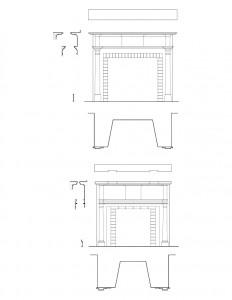 Line art of Iddings House fireplace, featuring mantel mouldings, and cornice mouldings.