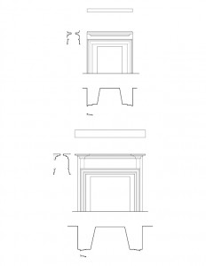 Line art of Iddings House fireplace mantel mouldings.
