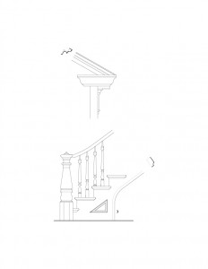 Line art of Iddings House exterior cornice mouldings, and interior staircase featuring baulsers, newel post with cap, and panel molds.