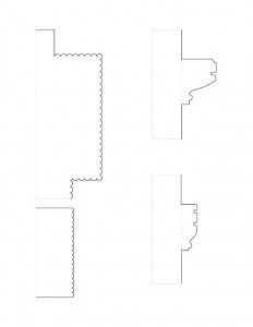 Line art of Johnathan Hale House cornice mouldings.