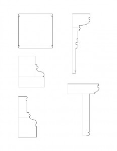 Several line art drawings of Jonathan Hale House moulding profiles.
