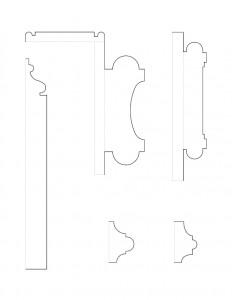 Many line art drawings of Jonathan Hale House moulding profiles.