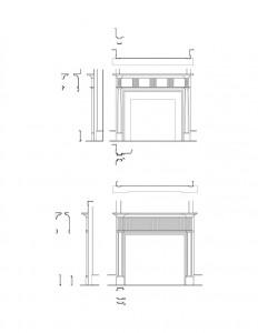 Line art of Jonathan Hale House fireplace mantel mouldings.