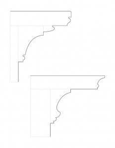 Line art of a Johnathan Hale House column and cornice moulding profile.